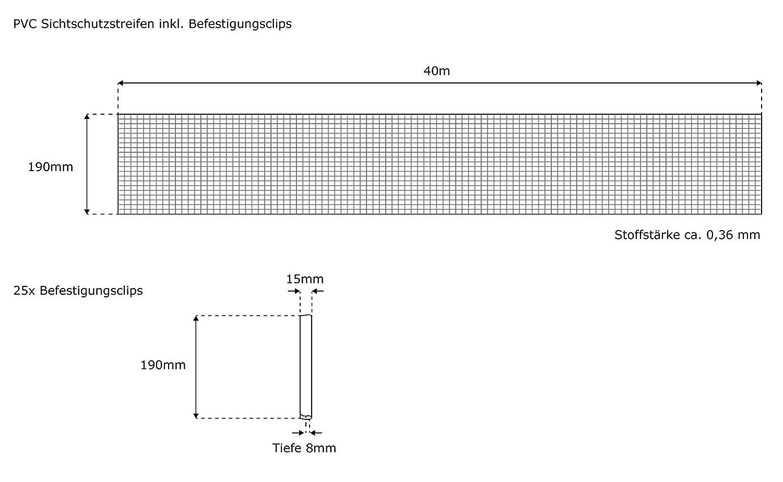 Rotolo Recinzione PVC 19 cm X 40 m Con 25 Clip di Fissaggio Antracite Jarolift Strisce PVC Paravista