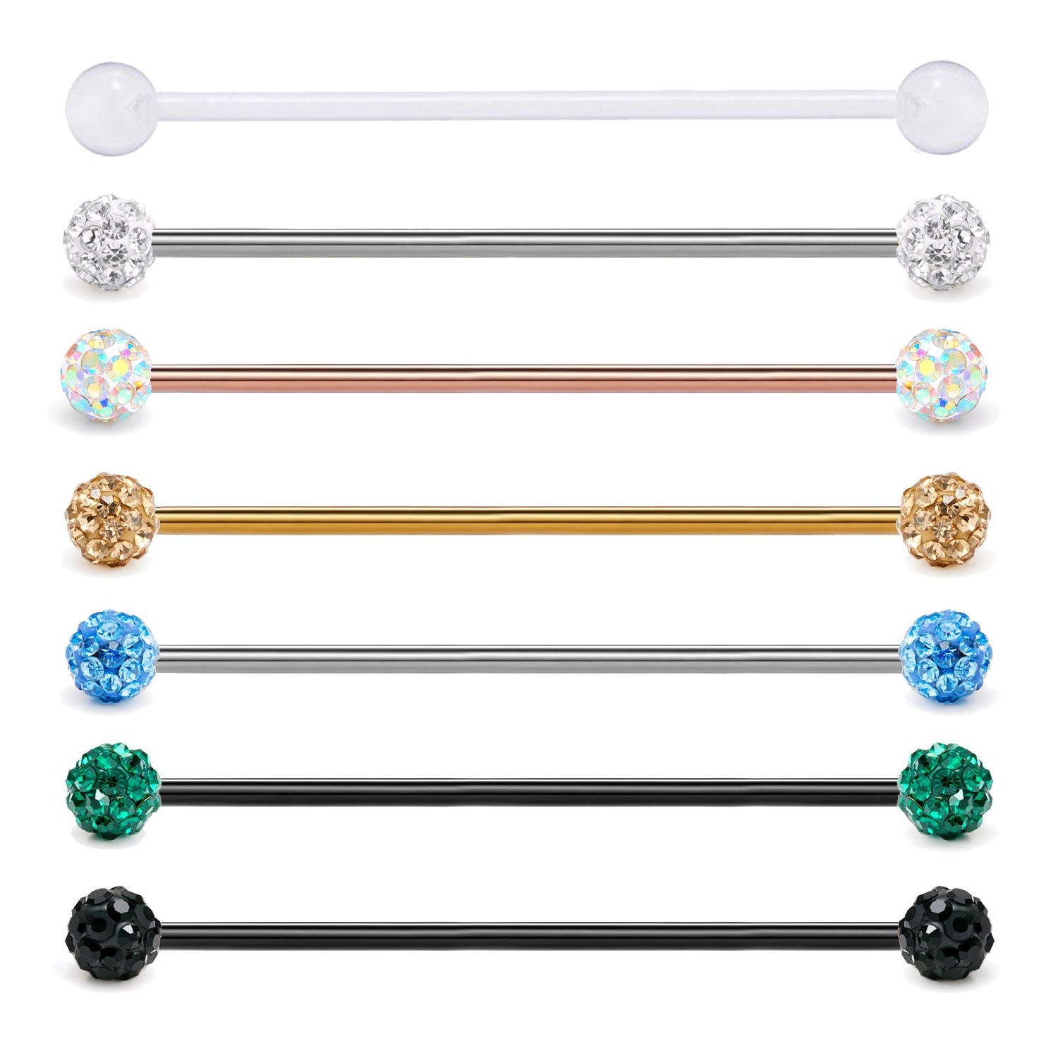 "Retainer Body Piercing Jewelry JFORYOU 14G Industrial Barbells Surgical Steel Cartilage Earring 1 1//2/"" 38mm"