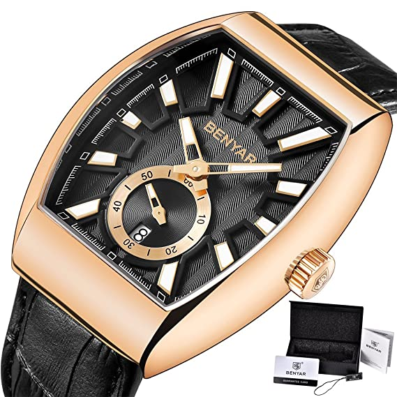 BENYAR - Reloj de pulsera para hombre, reloj de lujo, reloj de cuarzo dorado