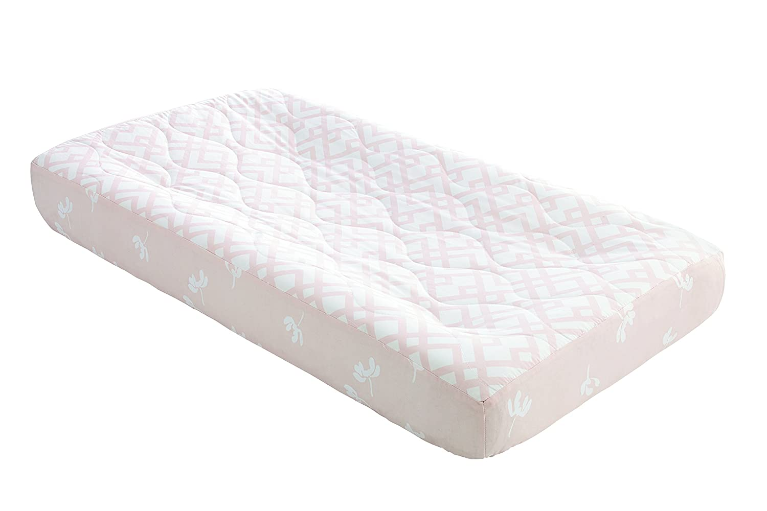 Ivanka Trump Wildflower Collection: Contoured Diaper Pad Cover for Diaper Changer - Trellis Pattern in White and Pink