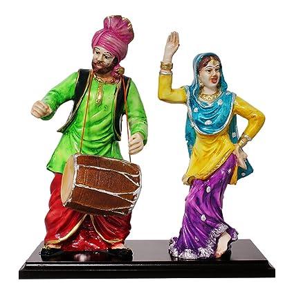 Buy Art N Hub Multicolour With Wooden Base Pair Of Punjabi