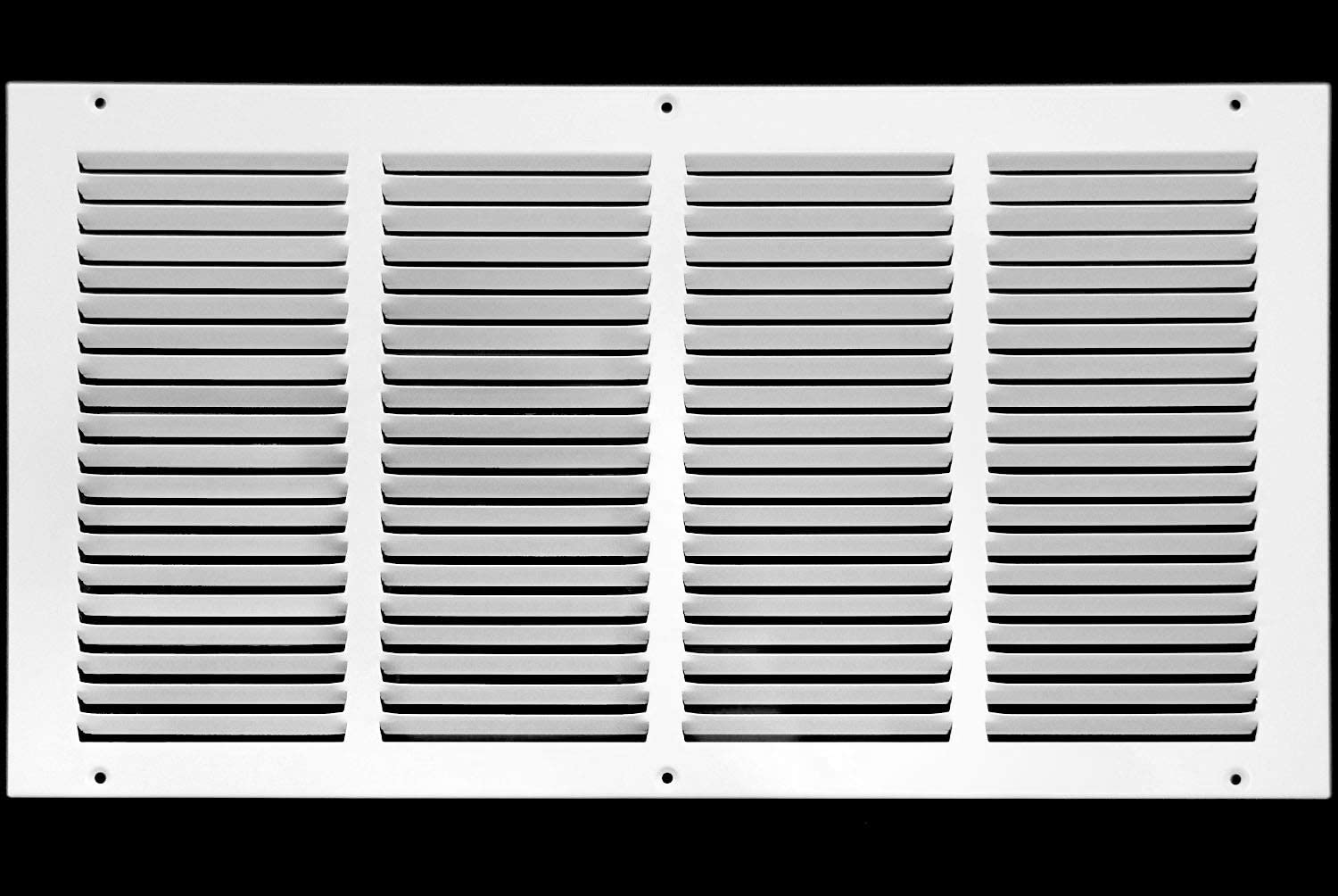 """20""""w X 6""""h Steel Return Air Grilles - Sidewall and Ceiling - HVAC Duct Cover - White [Outer Dimensions: 21.75""""w X 7.75""""h]"""