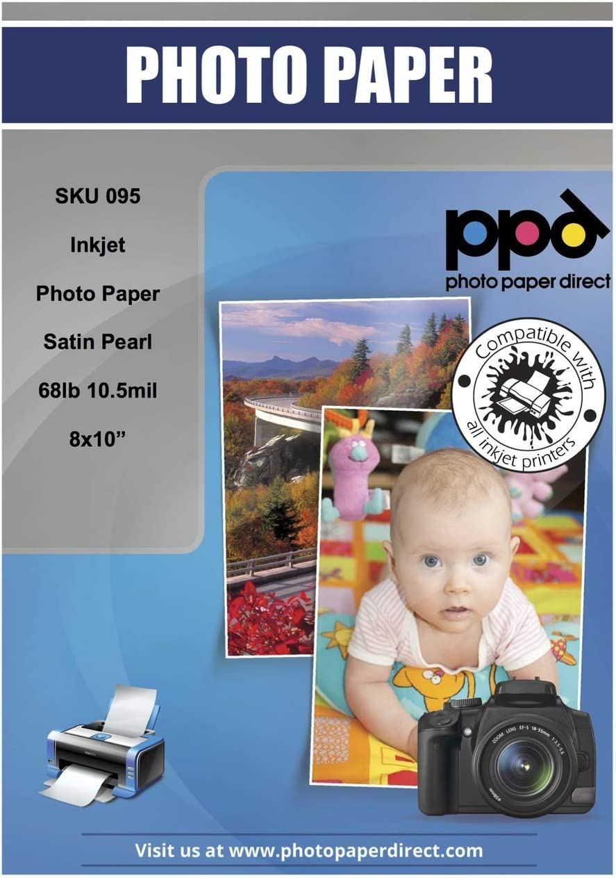 PPD Inkjet Satin Luster Super Premium Photo Paper 8x10'' 68lbs. 255gsm 10.5mil x 50 Sheets (PPD-95-50)