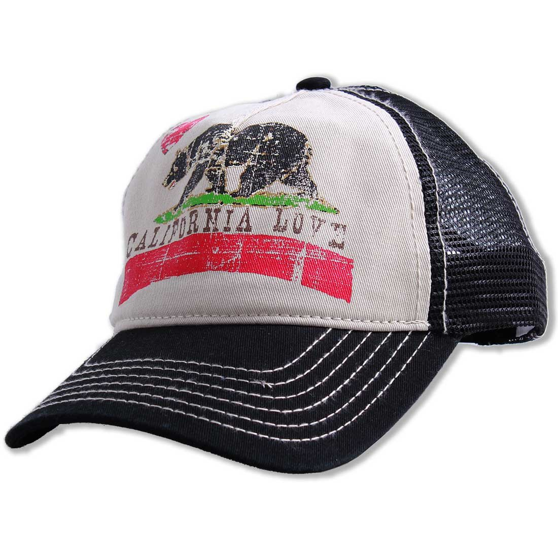 Dolphin Shirt Co California Love Distressed Juniors Pit Stop Twill Trucker Hat - Black