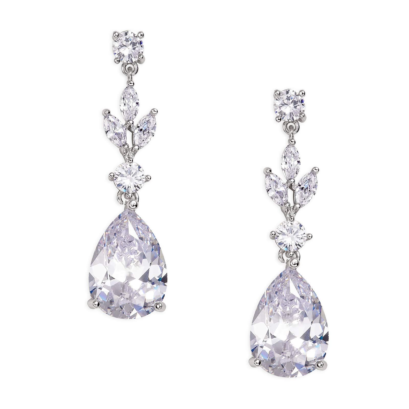 SWEETV Teardrop Wedding Earrings for Women,Bridesmaids,Brides -Rhinestones Earrings for Bridal,Prom,Formal-Silver