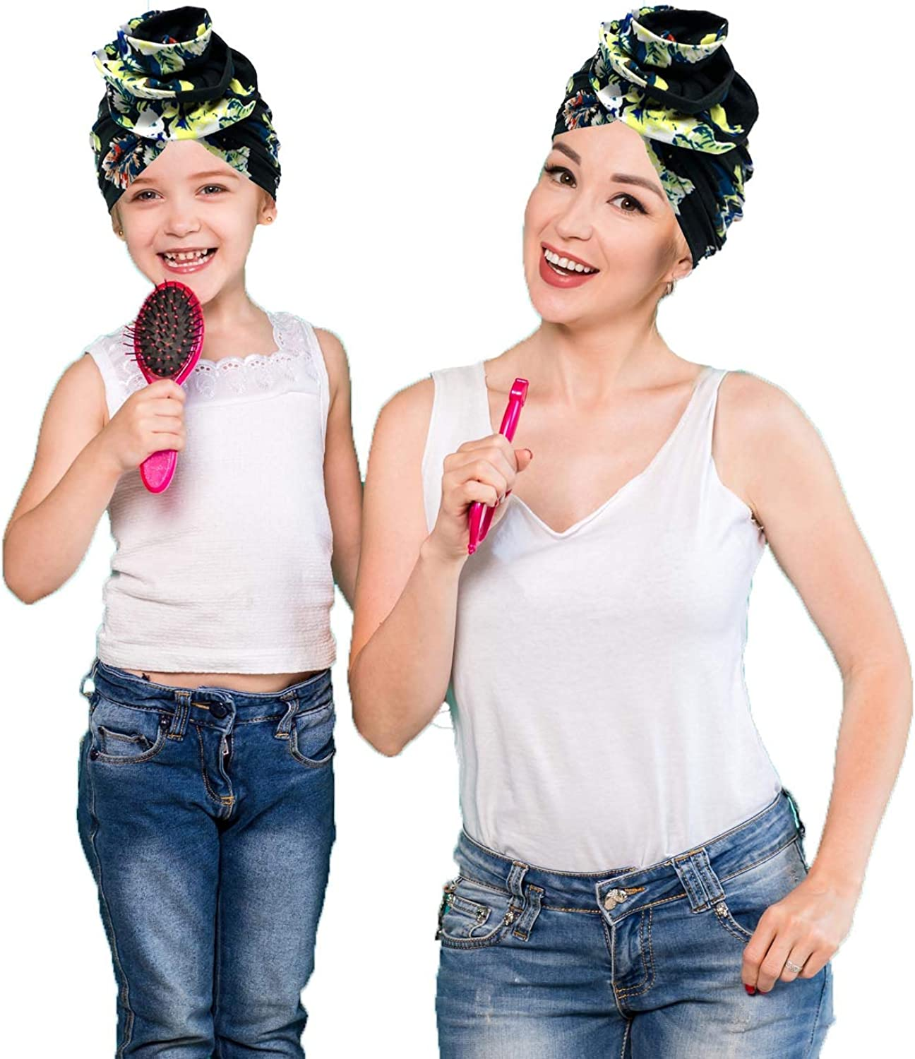 mbmagna 2 Pack Mom and Kids Floral African Pattern Stretchy Turban