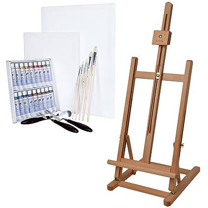 Artina - Caballete de Mesa Metz - Madera de Haya - con Set de 18 Colores al óleo, 5 Pinceles, 3 Cuchillos y 2 lienzos