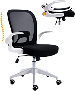 Huntor Ergonomic Office Chair Desk Chair for Home Office Work Chair Mesh Chair with Flip-up Arms White