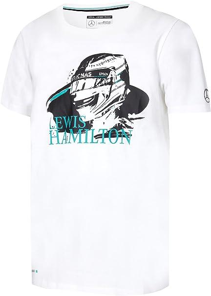 Mercedes Diseño de Casco del piloto de F1 Lewis Hamilton – Camiseta de Manga Corta para Hombre 2017 AMG fórmula 1 Equipo, Blanco: Amazon.es: Deportes y aire libre