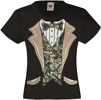 fresh tees Camo Tuxedo with Bowtie T-Shirt Funny Kids Costume Shirts (X-Small (2-4), Black)