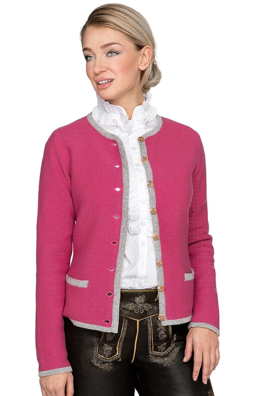 Trachten Strickjacke Caro - diese Strickjacke mit Tradition von Stockerpoint ist wie ein Traum, der in Erfüllung geht, eine feminine Trachtenstrickjacke in Fuchsia Hellgrau