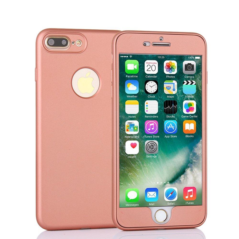 TechVibe iPhone 7 Plusケース、フルボディ保護、マットスリムTPUケース、デュアルレイヤー、iPhone 7 Plus用クリアスクリーンプロテクターを追加したデザインの向上(5.5インチ) - ローズゴールド   B071HBDXXM