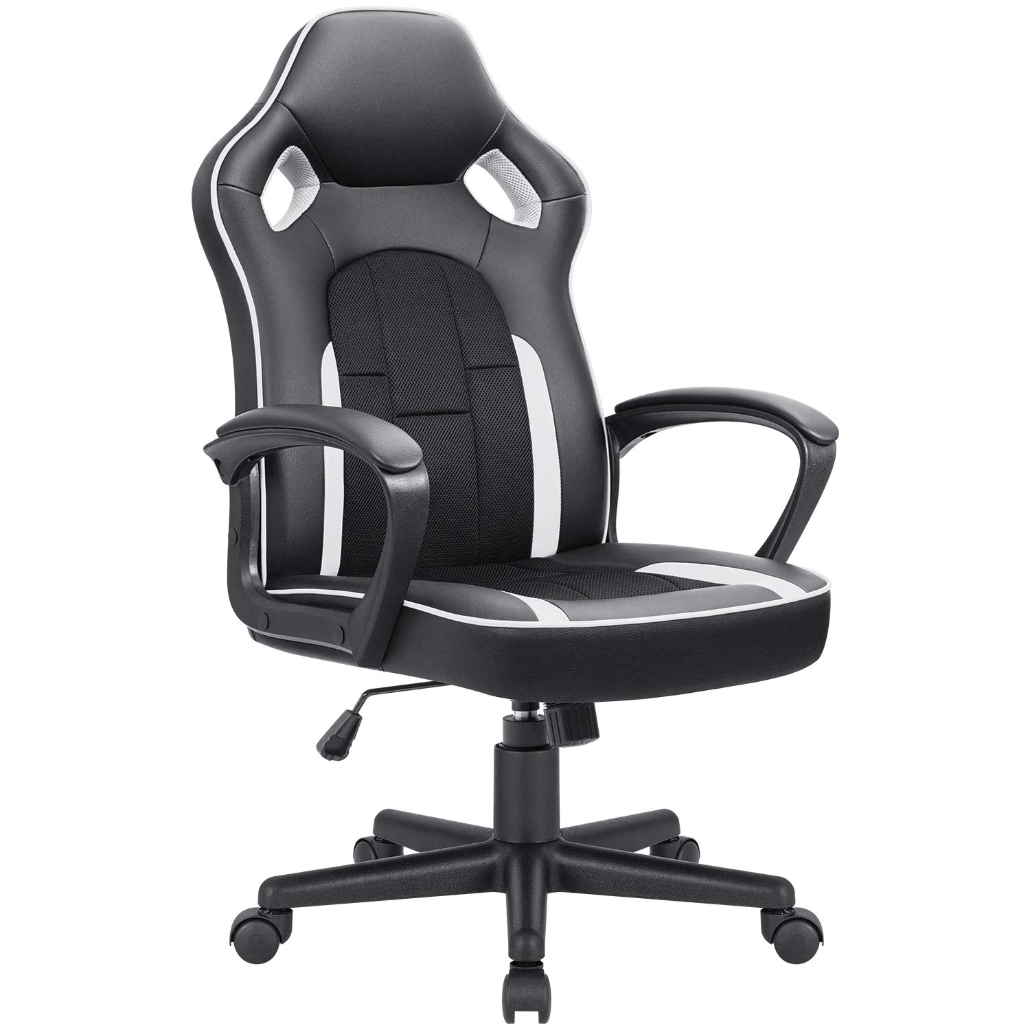 JUMMICO Gaming Chair Ergonomic Executive Office Desk Chair High Back Leather Swivel Computer Racing Chair with Lumbar Support White