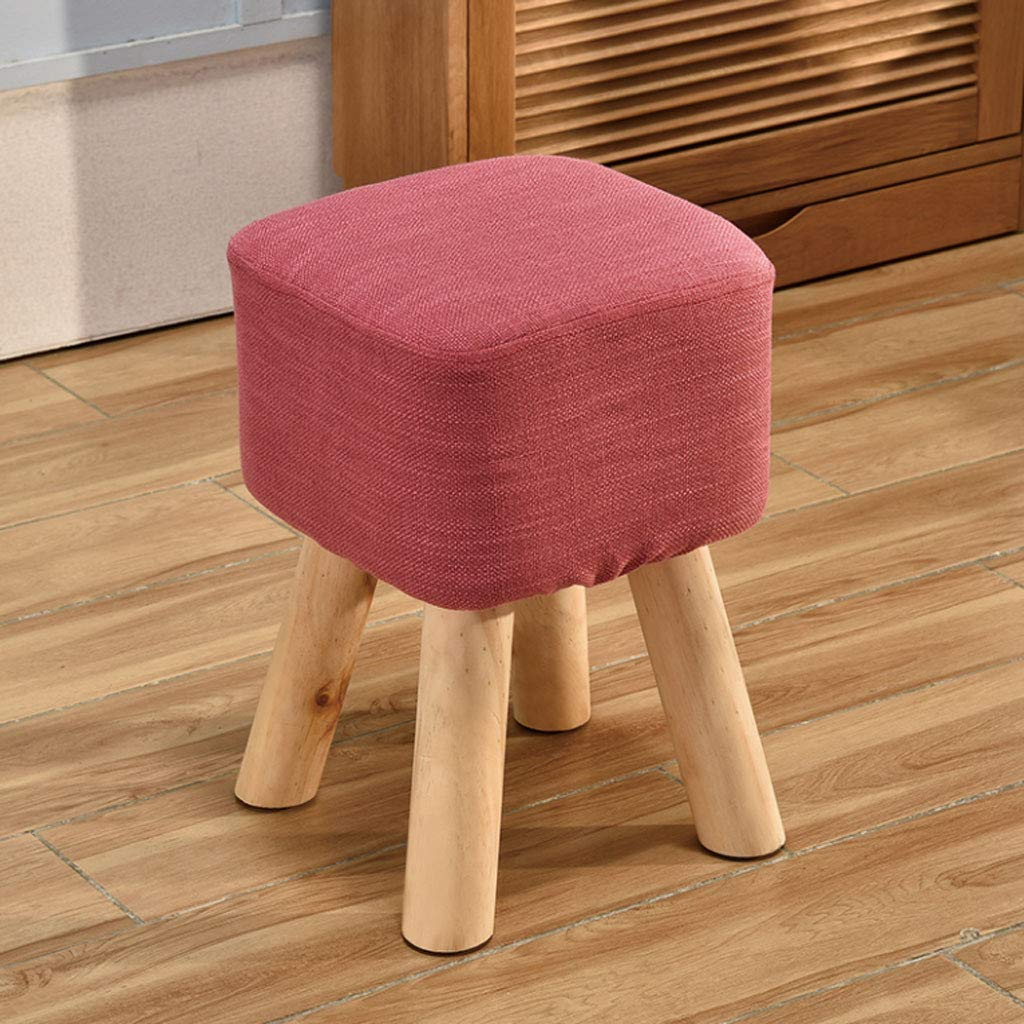 pink Red 28x28x40cm NJ stools  Household Heightening Stool Solid Wood Fabric Small Square Stool Sofa Stool (color   GREEN, Size   28x28x40cm)