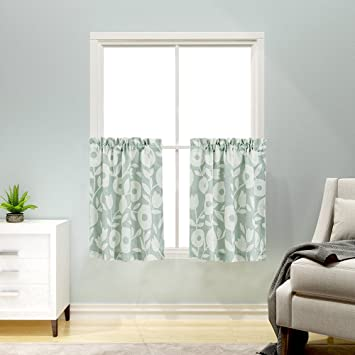 Tier Curtains Floral Printed Kitchen Curtains Linen Textured Half Window  Curtains Rustic Printed Cafe Curtains(24 Inches Long, Sage and White)
