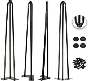 32 Inch Hairpin Legs 1/2 Inch Tick - Satin Black - Leg Protectors, Screws, Set of 4 – Easy to Install - Metal Legs - Desk Legs - Furniture Legs - Mid Century Modern by Homeland Hardware