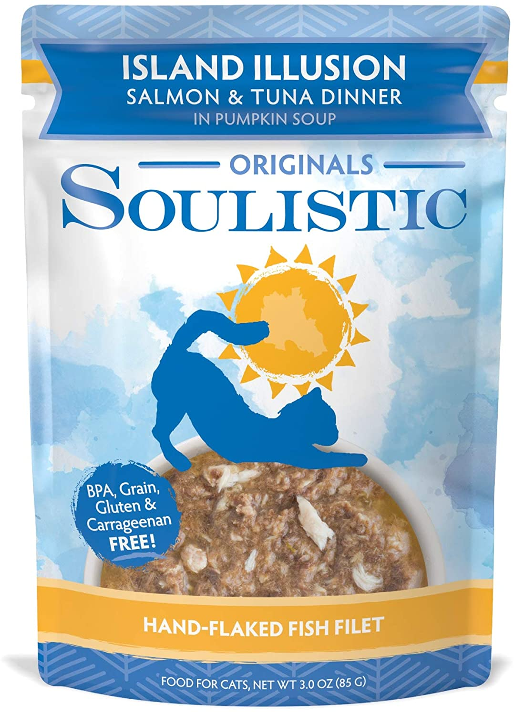 Soulistic Originals Island Illusion Salmon & Tuna Dinner in Pumpkin Soup Wet Cat Food, 3 oz., Case of 8, 8 X 3 OZ