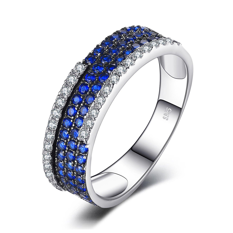 JewelryPalace Donna Gioiello 0.81ct Rotondo Sintetico Blu Spinello Anello da Cocktail Argento Sterling 925 EU-AR601072