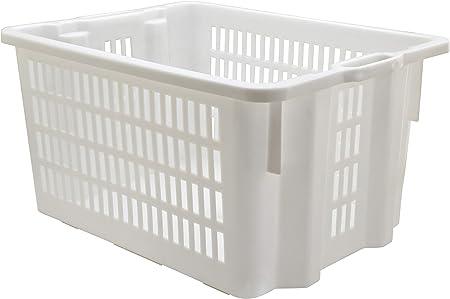 MOBIL PLASTIC S.P.A. Cesta para Pan apilable Ed apilable. De plástico Blanca Perforada. con Asas.: Amazon.es: Hogar