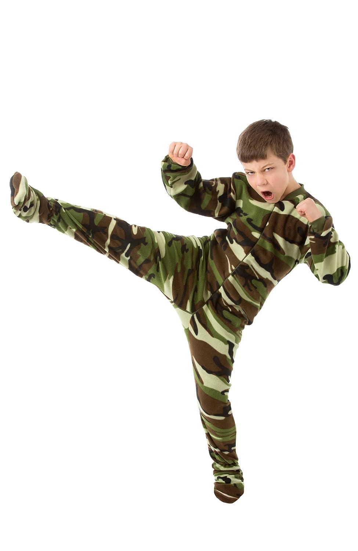 Big Feet Pajama Co. Kids Green Camo Fleece Footed Pyjamas Onesie 605
