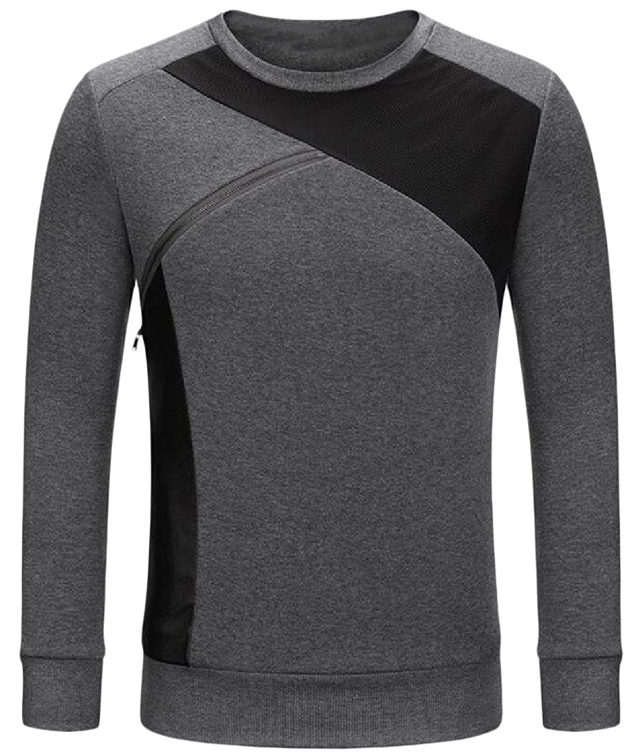 Honey GD Mens Slim Stylish Zipper Pullover Long Sleeve Sweatshirts