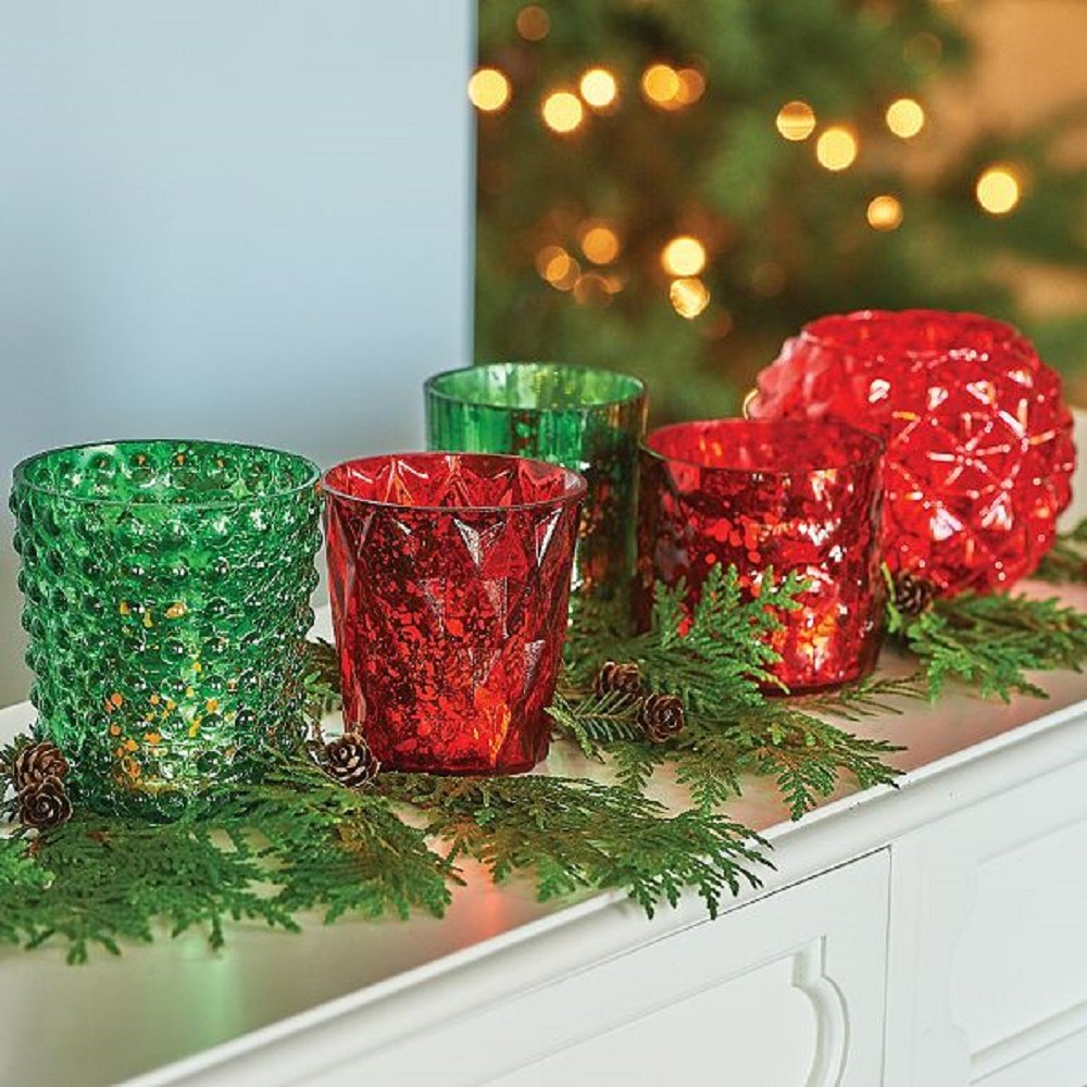 5pc Mercury Glass Red/Green Votive Candle Holders Christmas Decoration