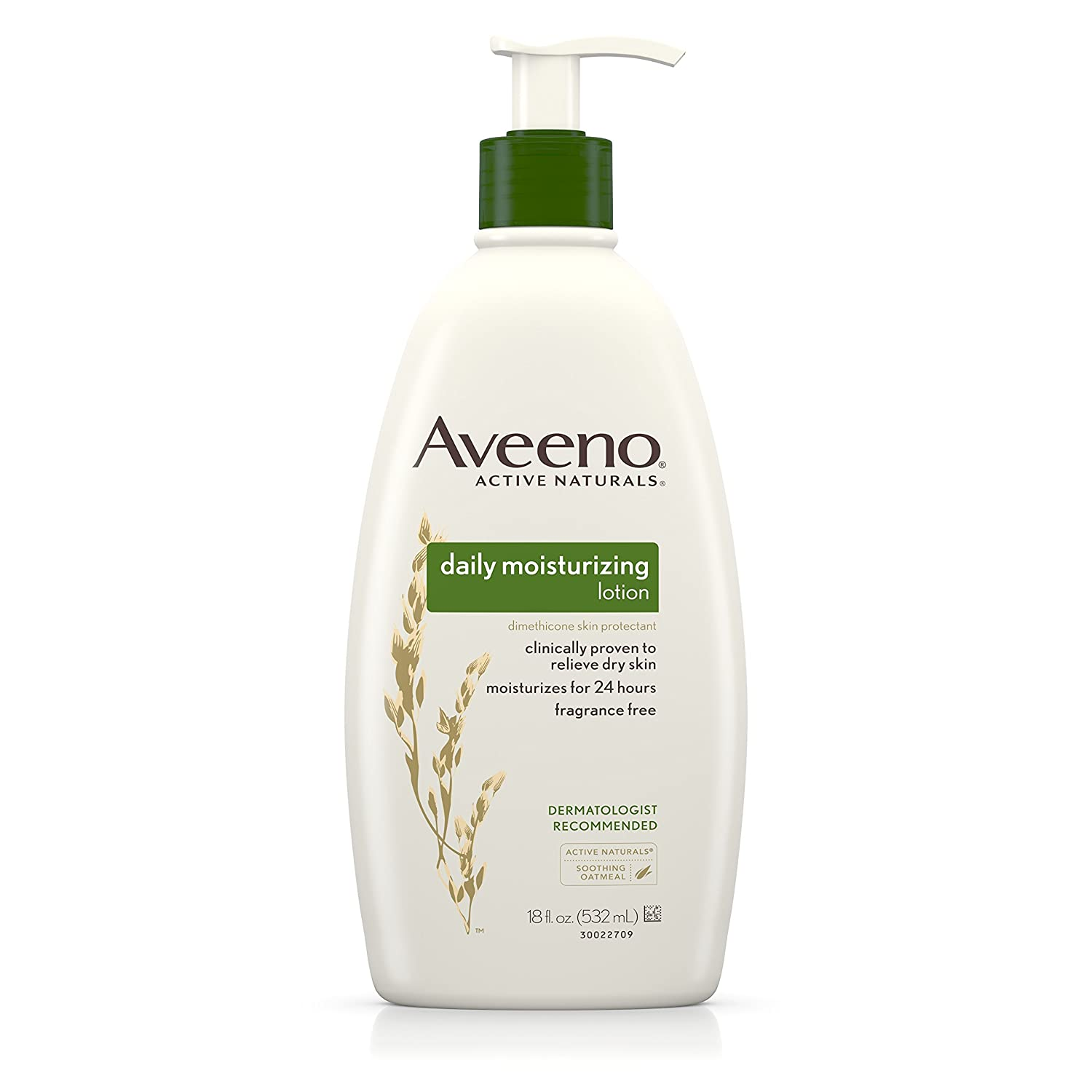 Aveeno Daily Moisturizing Body Lotion with Soothing Oat and Rich Emollients to Nourish Dry Skin, Fragrance-Free, 18 fl. oz