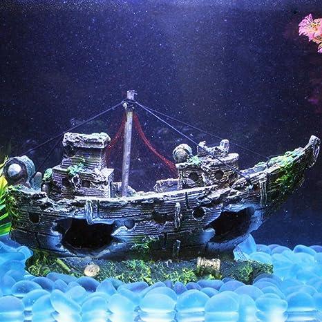 Topker Naufragio Barco Fishnet Fish Tank Acuario Paisaje Decoración Subacuática Ornament