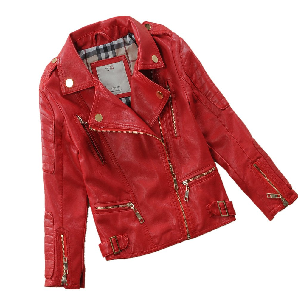 LJYH Childs Spring Lapel Motorcylce Faux Leather Jacket Multicolor