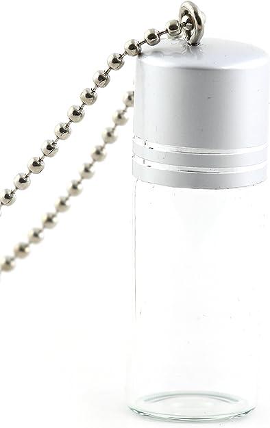 1 Large Vial Double Ring HEART Glass pendant charm screw cap top bottle *NEW