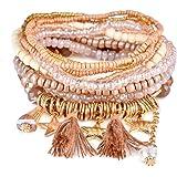 Bohemian Beaded Bracelet Stretch Wrap Bangle With Charms Stars Tassels Dangle Layered RareLove