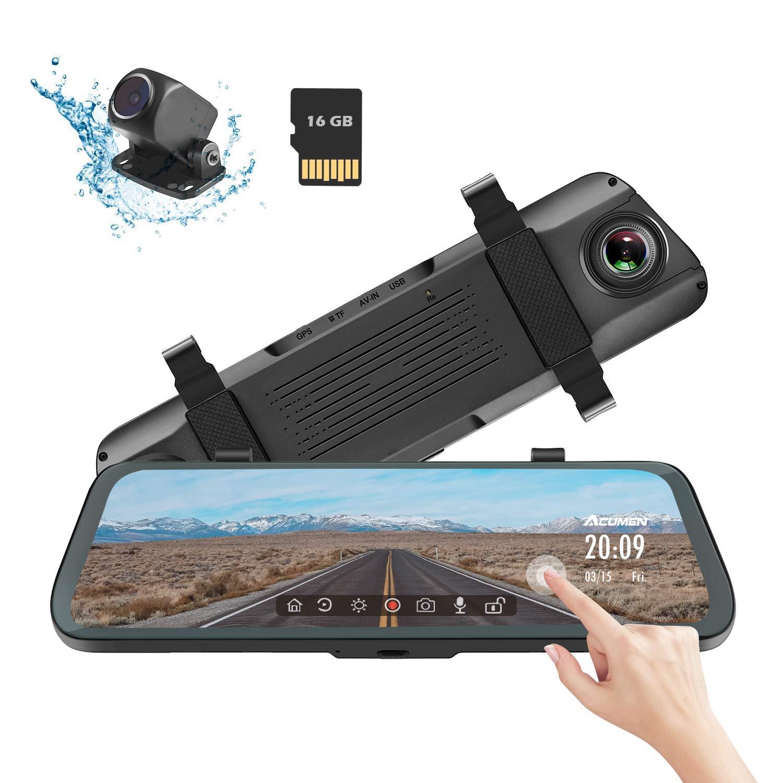 ACUMEN Mirror Dash Cam XR-10 Digital Rear View Mirror 9.66'' Touch Screen, Dual Lens 1080P Full HD Cameras ADAS Motion Detection Parking Mode G-Sensor Loop-Recording Night Vision