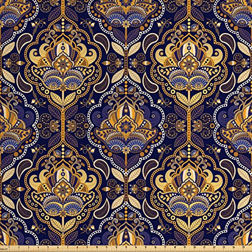 Ambesonne Asian Fabric by the Yard, Oriental Antique Pattern Arabic Foliage Ethnic Inspirations Geometrical Design, Decorative Fabric for Upholstery and Home Accents, Yellow Purple from Ambesonne