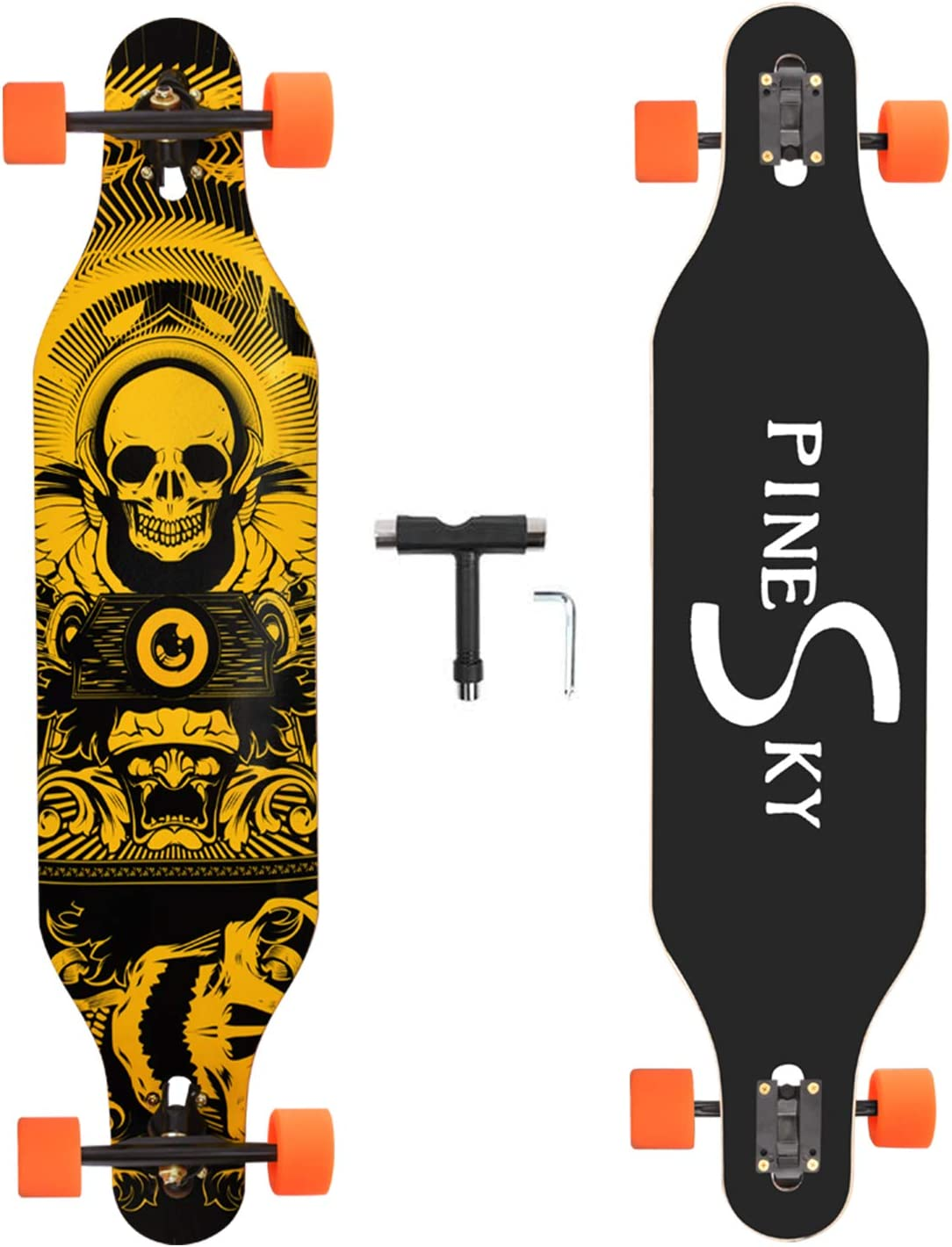 PINESKY 41 Inch Longboard Skateboard Complete Skateboard Cruiser for Cruising Carving Free-Style and Downhill with T-Tool