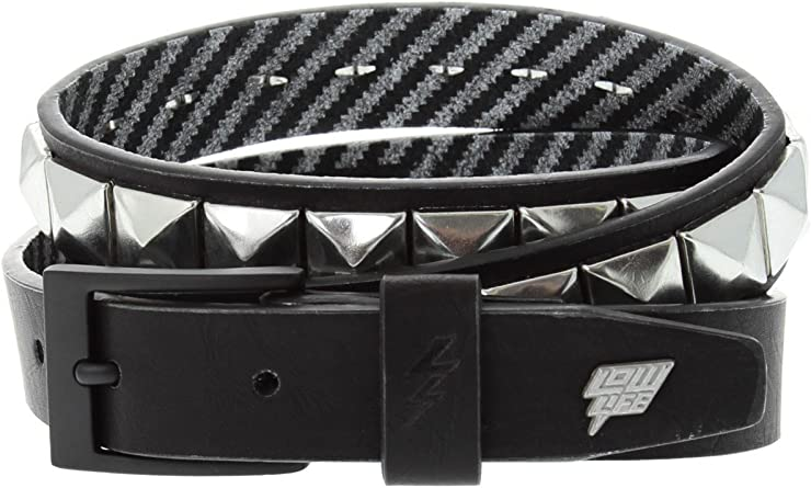 Lowlife Dub Leather Belt in Black Silver