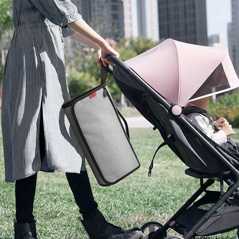 Baby Wickelunterlagen f/ür Unterwegs,Baby Wickelunterlage,Wickelunterlage f/ür Babyreisen-Grey Faltbare Wickelunterlage YOOFAN Tragbare Wickelunterlage