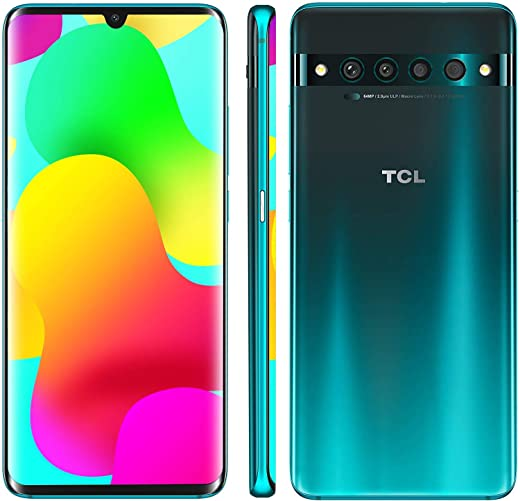 """TCL 10 Pro Unlocked Android Smartphone with 6.47"""" AMOLED FHD + Display, 64MP Quad Rear Camera System, 128GB+6GB RAM, 4500mAh Fast Charging Battery - Forest Mist Green"""