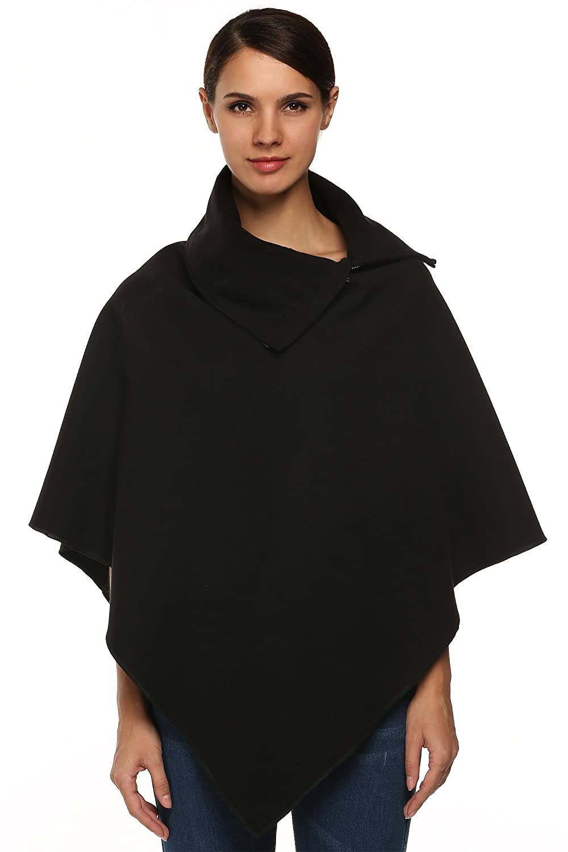 Zeagoo Women Turtleneck Wool Blend Irregular Hem Poncho Cape Coat Shawl Wrap