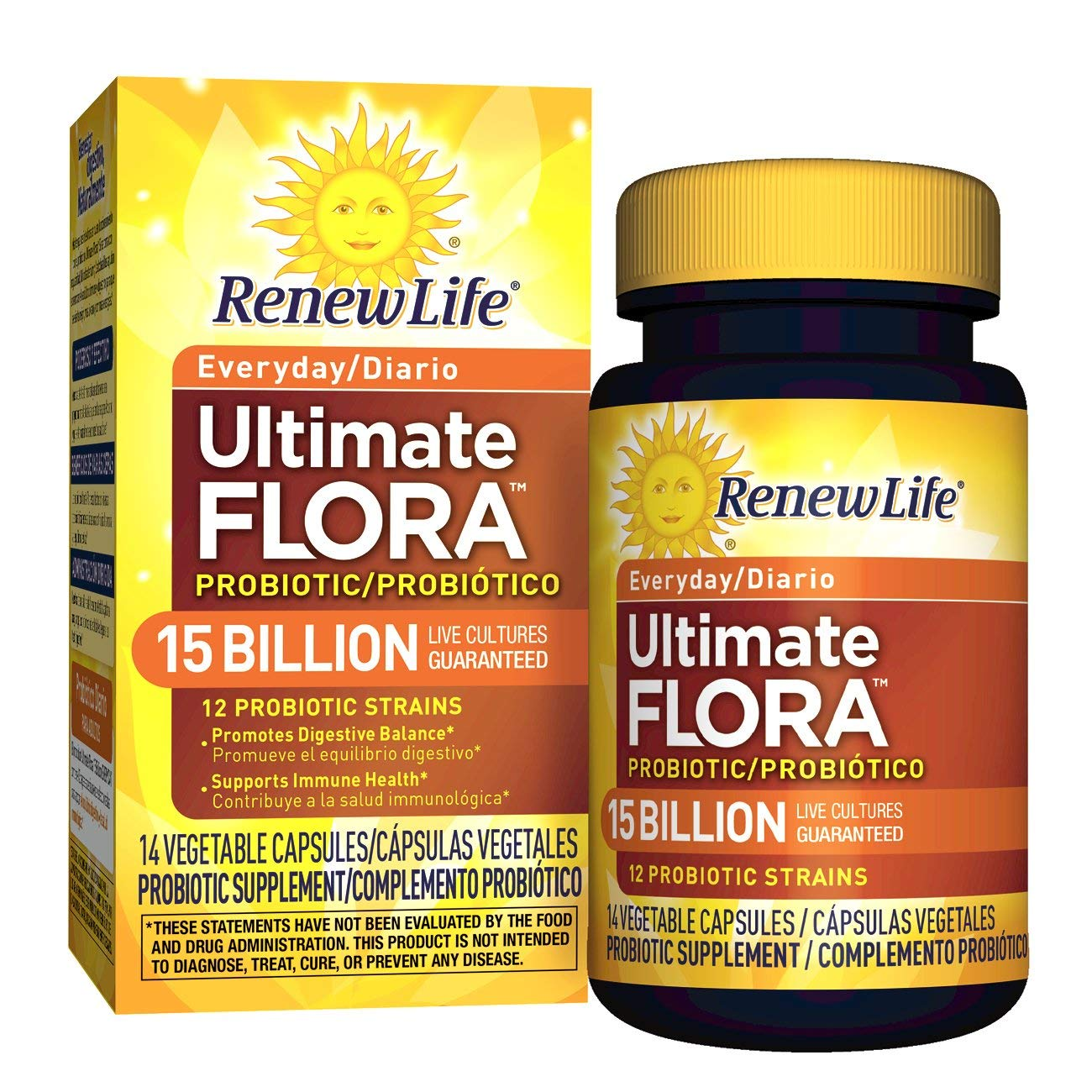 Amazon.com: Renew Life Adult Probiotic - Ultimate Flora Everyday Probiotic, Shelf Stable Probiotic Supplement - 15 Billion - 14 Vegetable Capsules: Prime ...