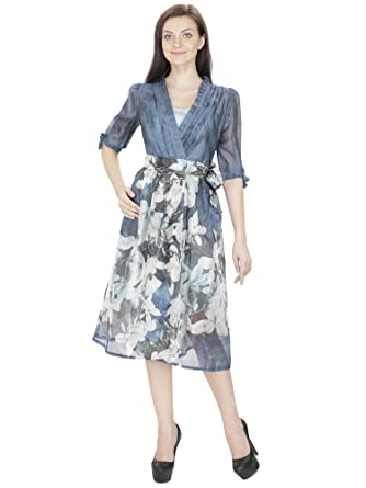 1849579a9196 RITU DESIGNS Grey Art Silk LACE Designer MIDI Dress with Polyster Inner   Amazon.in  Clothing   Accessories