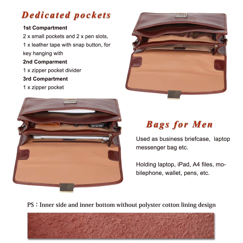 Banuce Vintage Full Grain Leather Briefcase for Men with Lock 14'' Laptop Tote Business Messenger Bag by Banuce (Image #6)