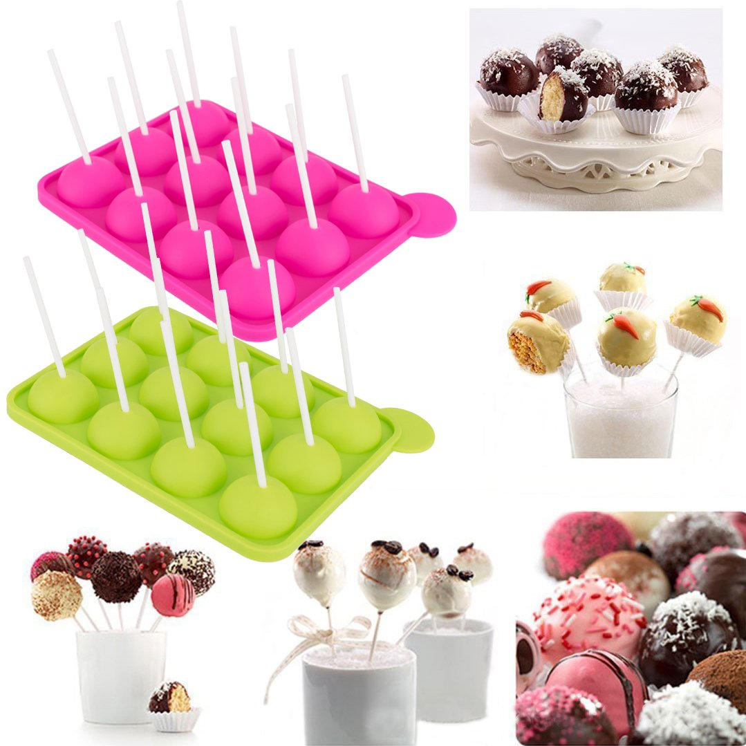 2 Pack Silicone Lollipop Mold 12-Cavity Cake Pops Tray for Candy Chocolate Jelly Ice Cream Ball Baking, BPA Free Food Grade, Kids Birthday Party Women Valentine's Day Christmas Holiday Gifts