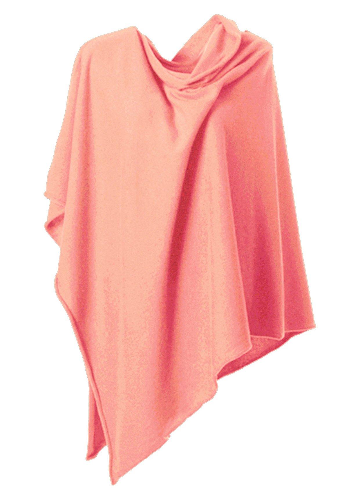 Anna Kristine Pure Cashmere Asymmetrical Draped Poncho - Coral