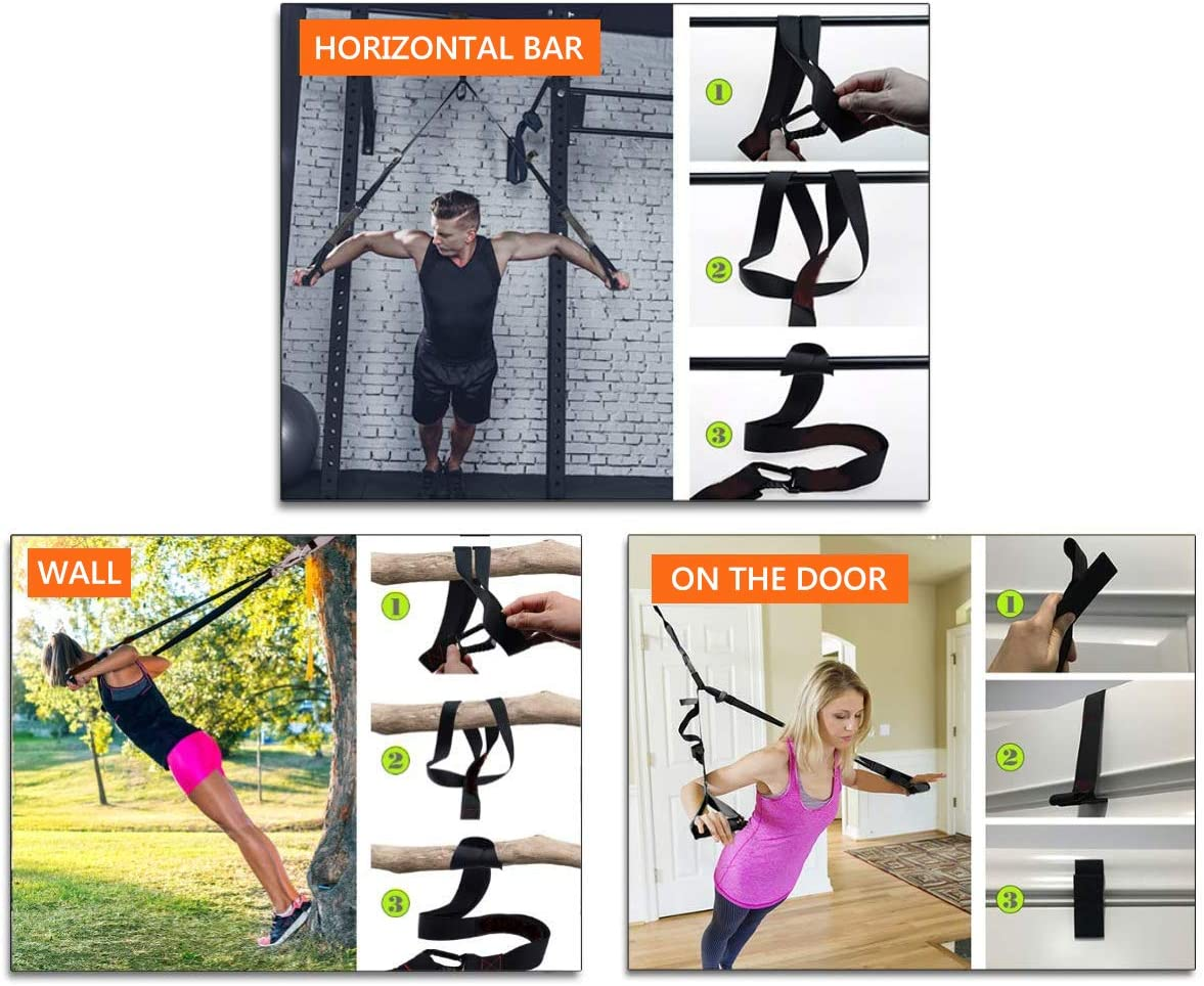 Fitness Training Kit Adjust Professional Suspension Exercise System for Core Strength Trainer Home Gyms and Outdoor Lightweight//Simple Benooa Suspension Trainer Kit