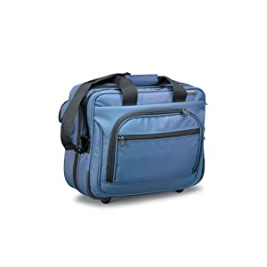 Hopkins Wheeled Home Healthcare Bag for Medical Professionals. 17 inches x 7 inches x 13 inches, Blue