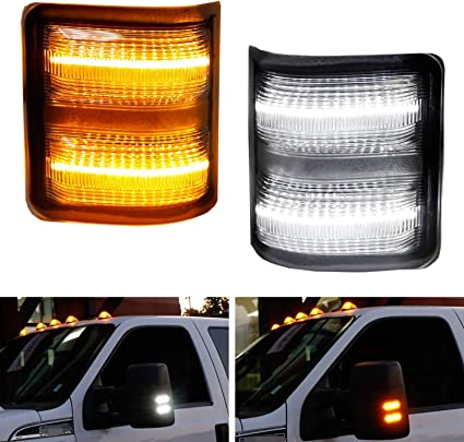 For Ford F250 F350 F450 Superduty Clear Side Mirror Amber LED Turn Signal Lights
