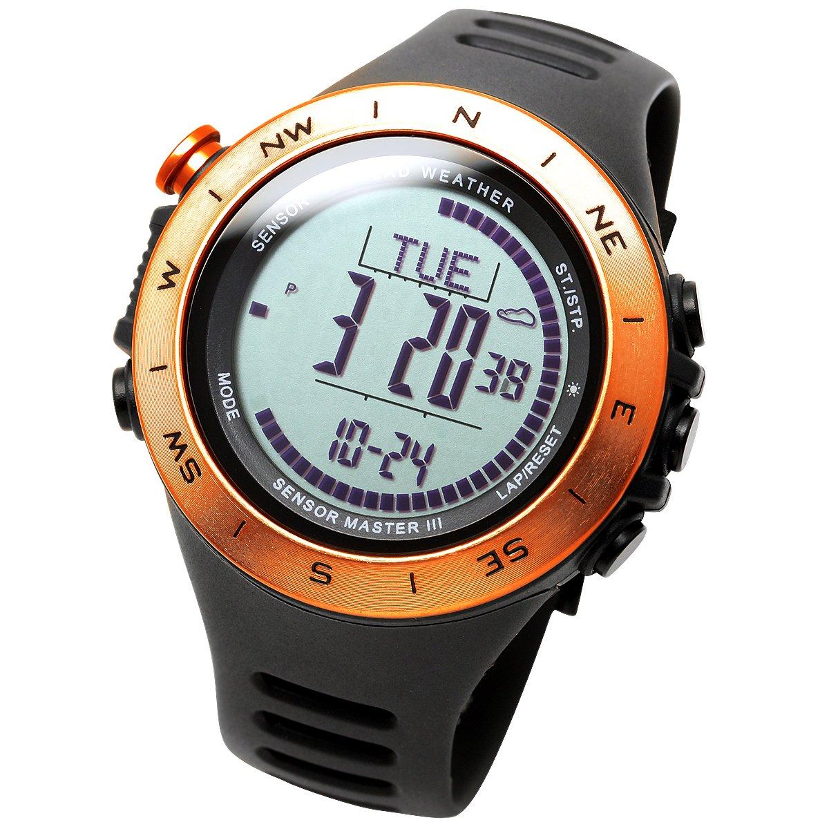 [Lad Weather] Sensor suizo, resistencia al agua hasta 100m, altímetro meteorológico (soleado/nuboso/lluvioso/tormenta), reloj multifunción