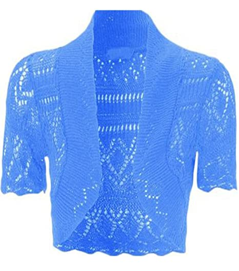 353cfc7b07d Womens Knitted Bolero Shrug Short Sleeve Crochet Shrug (Turquoise ...