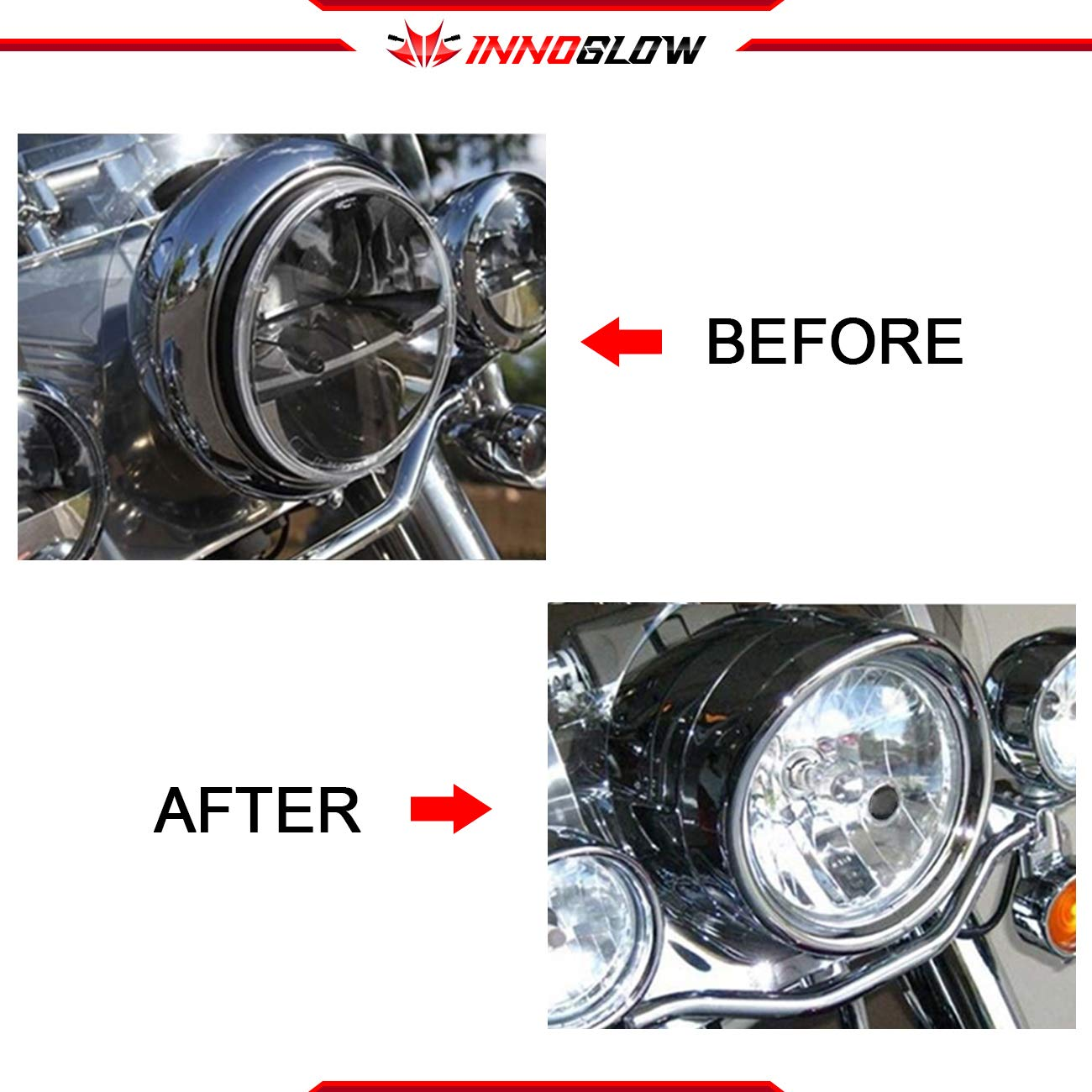 Black INNOGLOW 7 Motorcycle Headlight and 4.5 Auxiliary Lights Decorate Trim Rings Visor Sets for Harley Davidson Softail 94-13