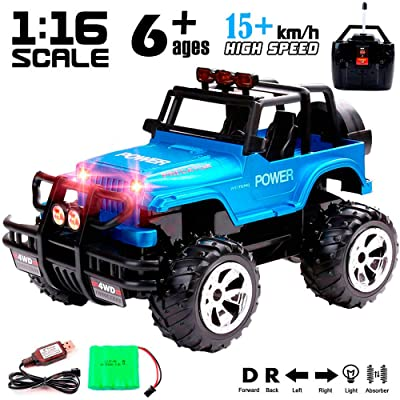 Remote Control Monster Truck 4WD Off Road Rock Crawler Vehicle 2.4 GHz All Terrain Big Foot Jeep RC Vehicle 1:16 Scale Rechargeable RC Toy Car with Lights and Sounds for Kids Boys Girls: Toys & Games